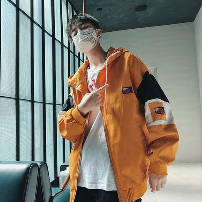 秋季外套男連帽寬鬆撞色拼接休閒夾克衫韓版潮學生港風CHIC沖鋒衣