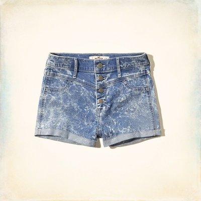 《Cupio》現貨 Hollister High Rise Shorts 排扣中刷色水洗高腰牛仔短褲(3)