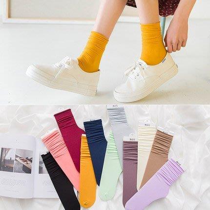 【Q比花園】C薄款純棉復古加密編織 堆堆襪/短襪/中筒襪