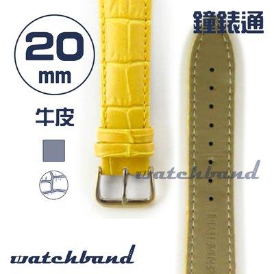 【鐘錶通】C1.40AA《霧面系列》鱷魚格紋-20mm 霧面橙黃┝手錶錶帶/皮帶/牛皮錶帶┥