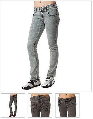 Dickies Girl MS193AW Five Pocket Acid Wash Skinny Jeans Waistband