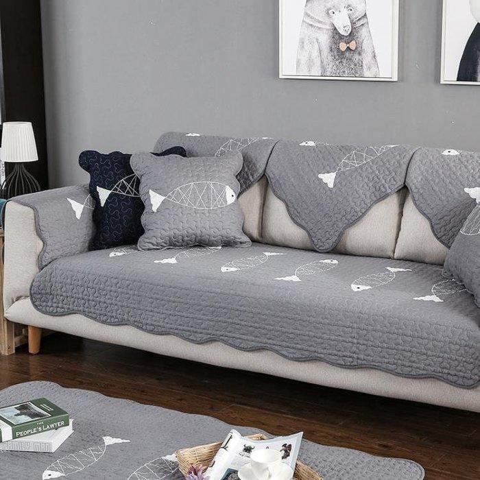棉質沙發墊純夏布藝簡約現代防滑坐墊四季通用皮沙發套巾
