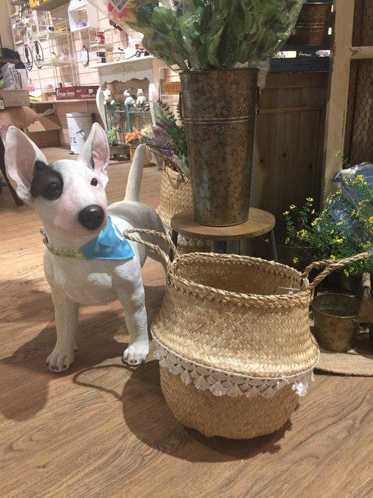 《齊洛瓦鄉村風雜貨》日本zakka 手工水草編織收納籃 花器 兩用收納籃 白色流蘇邊(小)