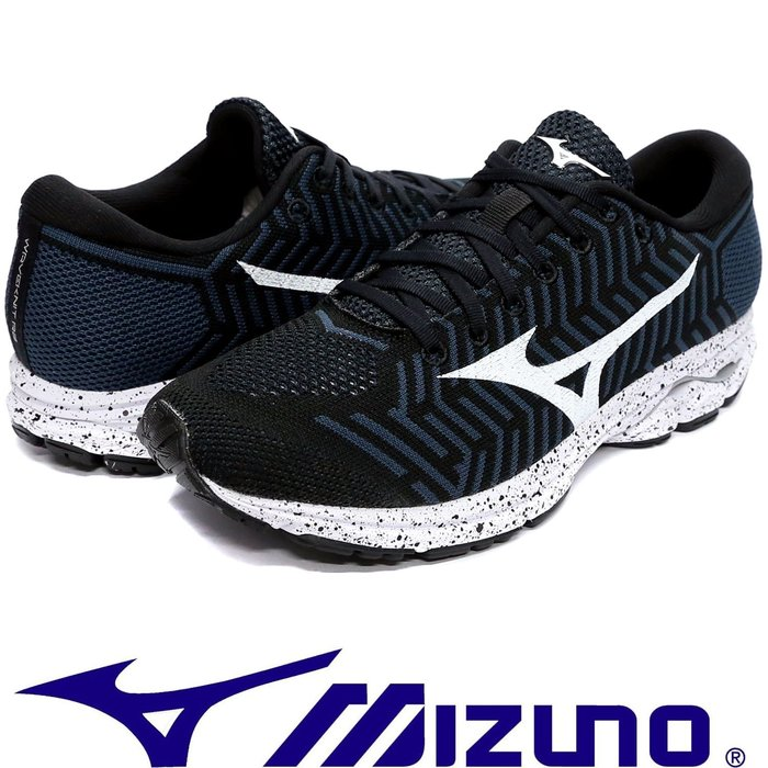 鞋大王Mizuno J1GD-182907 黑×白 WAVEKNIT R1 飛織鞋面慢跑鞋【免運費,加贈襪子】749M