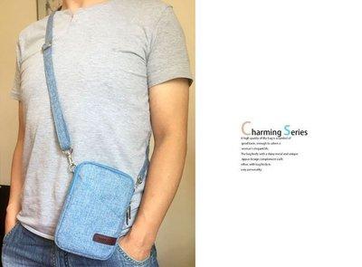 【GooMea】3免運 Samsung 三星 A31 6.4吋 手機套 亞麻布 拉鍊款 手拿 斜背 淺藍