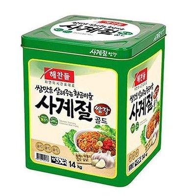 匯盈一館~韓國第一醬料品牌韓國CJ蔬菜醬/包菜醬/豆瓣辣椒醬14KG/桶~餐廳專用大桶包菜醬~餐廳必備