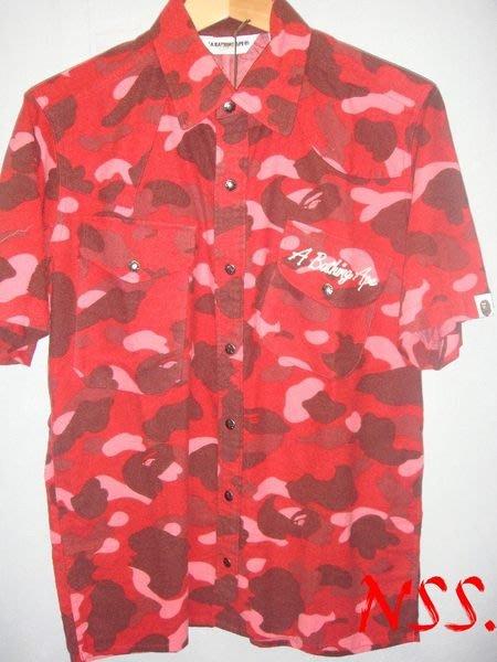 【NSS】A BATHING APE BAPE CAMO 紅狼 紅迷彩 短袖 拼布 襯衫 M號