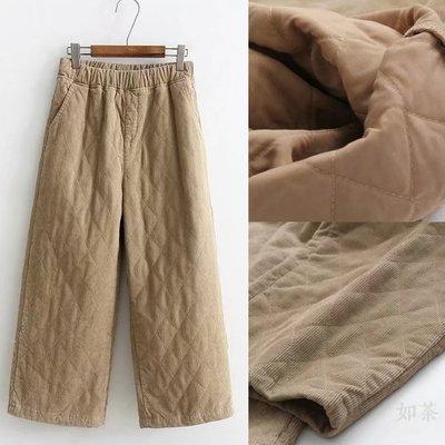 【如茶】冬鋪棉格紋燈芯絨九分直筒休閒褲