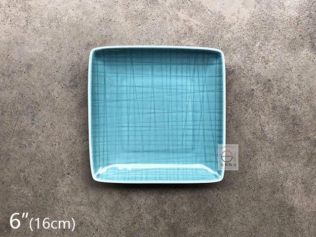 +佐和陶瓷餐具批發+【8218PX08-6 6吋格線四方碟-龍泉藍】系列餐具 四方碟 正角皿 餐廳用盤 營業餐具