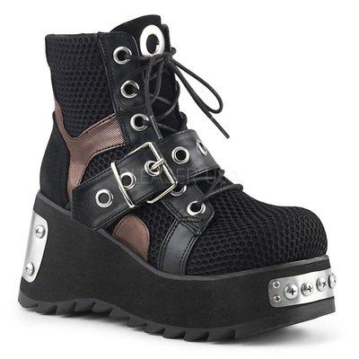 Shoes InStyle《三吋》美國品牌 DEMONIA 原廠正品龐克蘿莉金屬板網眼厚底楔型靴 有大尺碼 『黑色』