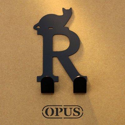 當貓咪遇上字母R 《經典黑》2017聖誕禮物 壁飾掛勾 造型無痕掛鉤 交換禮【OPUS東齊金工】HO-ca10-R(B)