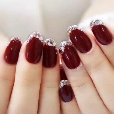 光療美甲成品 手工甲片 日常甲片假指甲貼片酒紅色