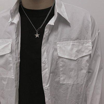 Cool酷兒飾品~SHARE 個性時尚五角星拼接項鍊男女復古街頭香港潮酷設計感鍊子