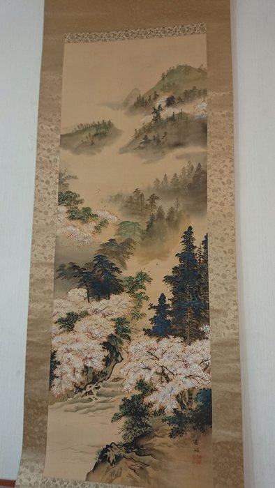 日本 明治時期 手繪 古董老字畫  春山水