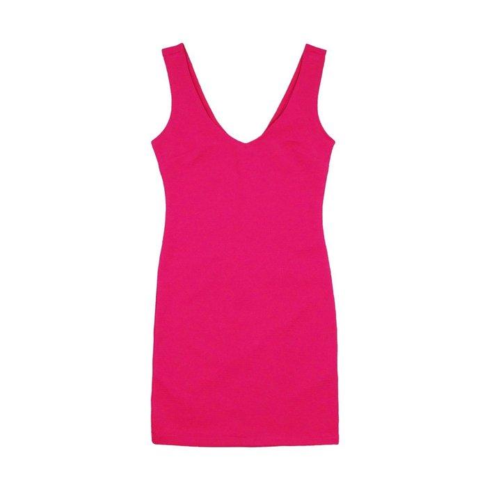 【Forever 21】【F21】女款洋裝大V背鍊線條桃紅 F06150418-30