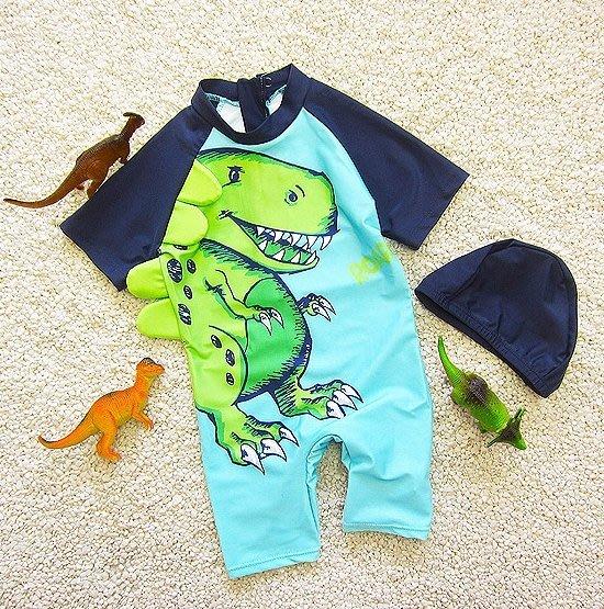 【小阿霏】兒童兩用溫泉泳衣附泳帽 男童寶寶卡通恐龍暴龍一件式泳裝 男孩速乾連身單件泳裝SW116