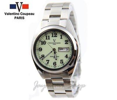【JAYMIMI傑米】Valentino范倫鐵諾古柏不鏽鋼腕錶- 夜光數字面板 中英文日期 防水錶