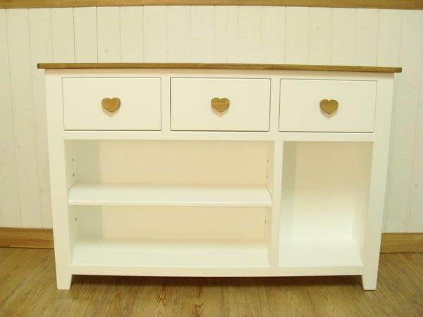 松木 實木  收納櫃 置物櫃**樂在幸福**木作坊 ~A112~松木三抽屜收納櫃~柚木+白色