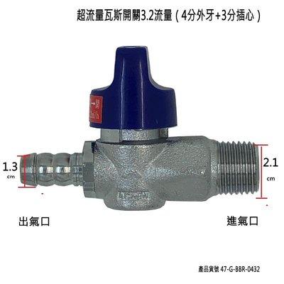 超流量瓦斯開關3.2流量(4分外牙+3分插心)/安全球閥遮斷器/超流量瓦斯考克/天然瓦斯開關/超流量遮斷/調整器