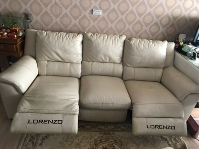 義大利LORENZO羅蘭索牛皮電動伸縮三人沙發,可電動攤開躺椅