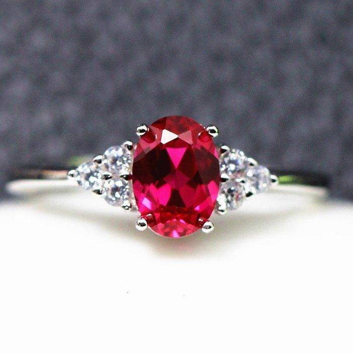 【福寶堂】韓版1克拉紅寶石戒指女款925純銀鑲嵌開口指環首飾送閨蜜情人禮物