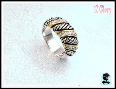 中性簡約鑲鑽線圈 紐約時尚戒指 鑲崁晶...