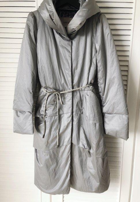 原價三萬多 義大利🇮🇹 SALCO 銀狐色長版羽絨大衣 附皮繩腰帶
