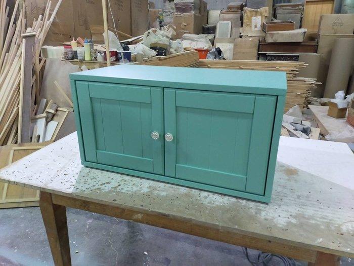 美生活館 家具訂製 客製化 鄉村風 全紐松 藍綠色 雙門 收納櫃 桌上櫃 也可修改尺寸顏色再報價