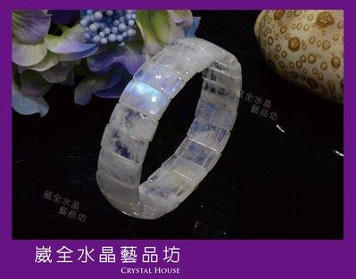 【崴全水晶】頂級 藍暈 月光石  手排...