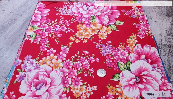 [Y0005-4] 客家花布 印花 純棉 布寬151公分  50/尺 7004粉牡丹橘紅小花 以碼計價