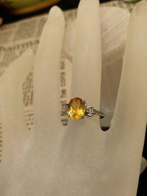 黄水晶戒指銀鑲K白金 彩色寶石  現貨庫存 不用等