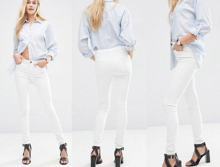 ◎美國代買◎ASOS經典款復古風中高腰包覆合身白色牛仔褲~歐美街風~大尺碼