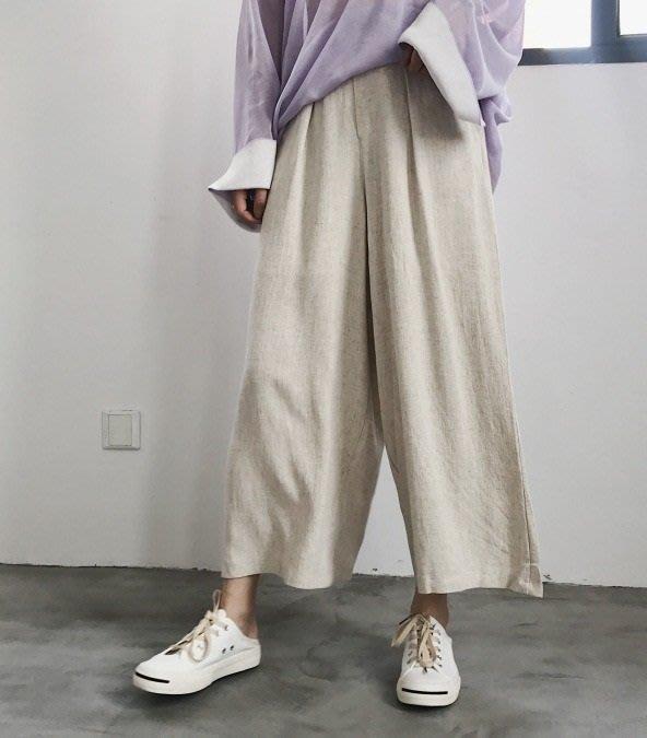 日暮瓦宅 TM147 夏季涼爽舒適質感簡約棉麻顯瘦高腰寬褲長褲