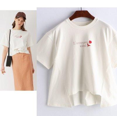 【WildLady】 特 日本甜美別緻印花短袖T恤 不規則設計針織t 上衣snide* mina