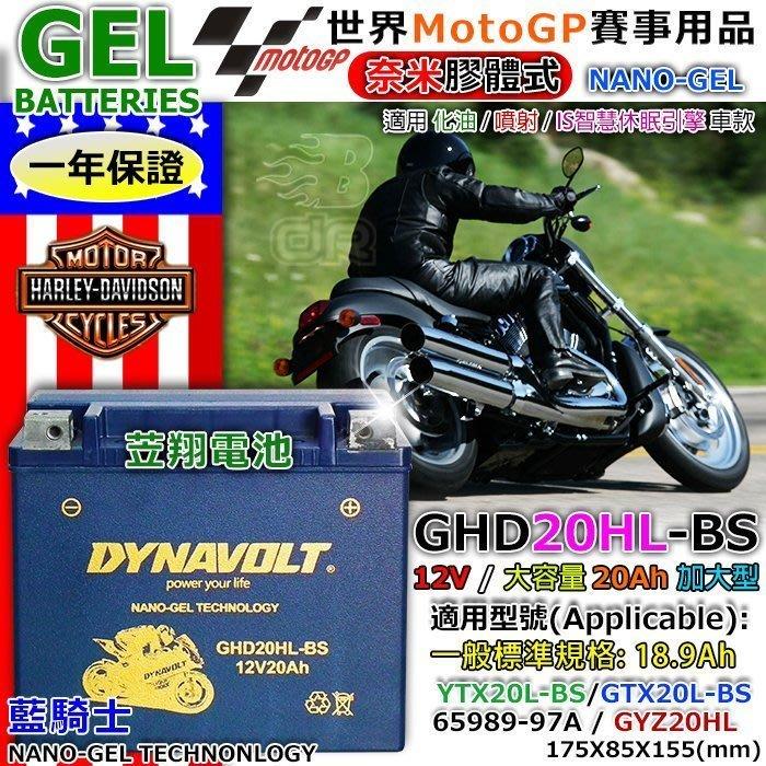 【鋐瑞電池】GHD20HL YTX20L GTX20L 藍騎士 機車電池 川崎 山葉 哈雷 Harley 重機 奈米技術