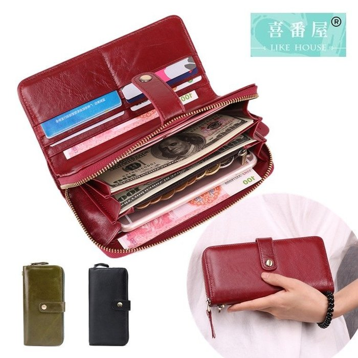 【喜番屋】真皮頭層牛皮20卡位女士皮夾皮包錢夾錢包長夾【LH621】