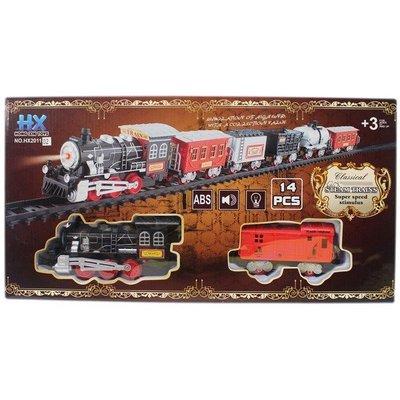復古火車玩具 HX2011-01/02 電動軌道火車組(附電池)/一個入{促350} 聲光火車軌道組~生