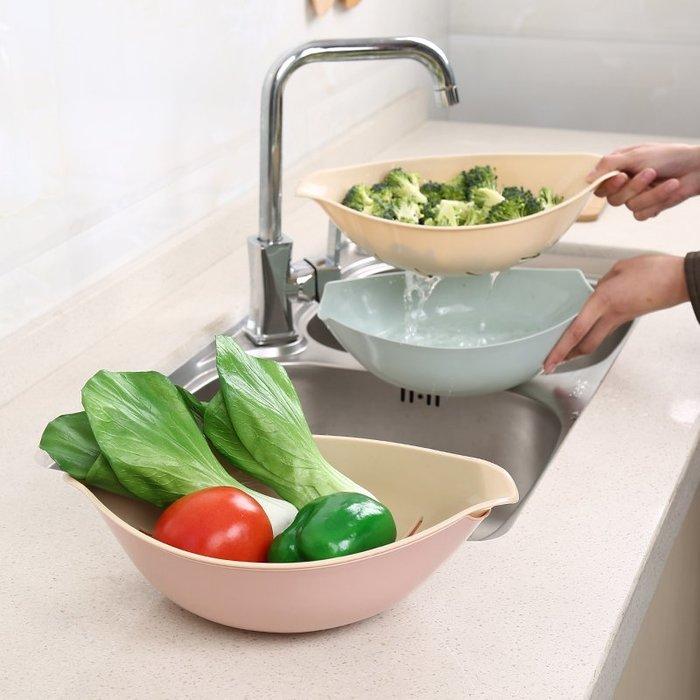 塑料瀝水籃洗菜籃雙層創意柳葉水果盆家用客廳水果盤北歐水果籃
