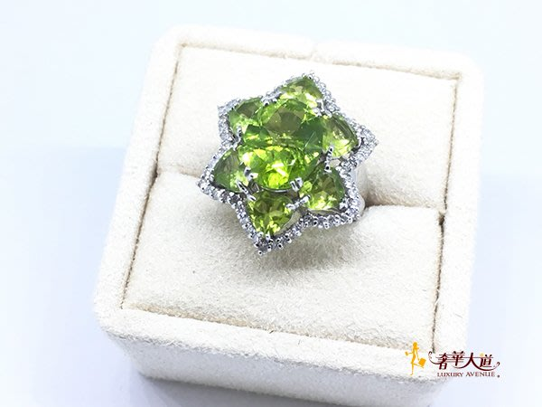 *奢華大道國際精品*【J0748】天然綠色(幸福之石)橄欖石星星花朵造型鑽戒