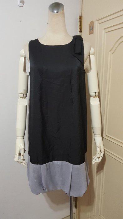 SO NICE專櫃黑拼灰下襬肩飾結A字花苞小洋裝S號(適S~M)*390元直購價*