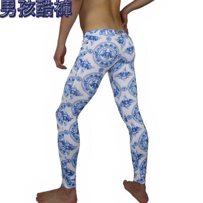 男 內褲 泳褲~男孩酷褲~ 男士內著華傑龍低腰修身男士秋褲 潮款迷幻色彩打底褲 冰絲薄保暖