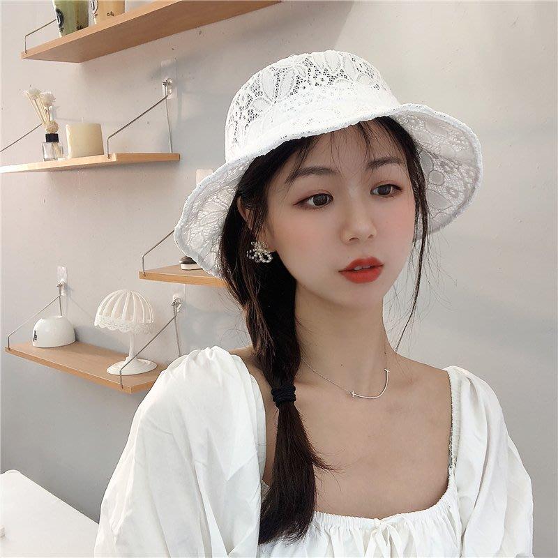 漁夫帽 盆帽-繡花鏤空浪漫蕾絲女帽子2色73xu36[獨家進口][米蘭精品]