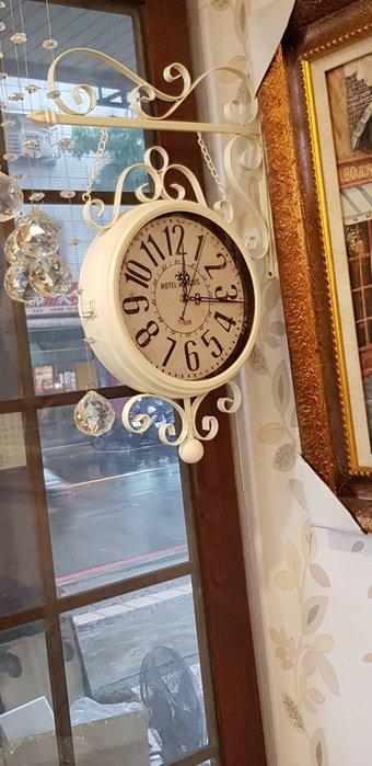 大型美式鐵藝掛鐘 工業風時鐘  鄉村風掛鐘  古典雙面鐘  雙面鐘