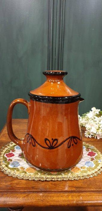 【卡卡頌 歐洲古董】德國老件  典雅橘磚色  手工描繪  咖啡  花茶   陶壺 p1734