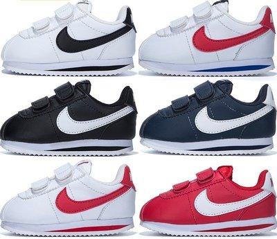Nike 紅藍 紅勾 904767 皮革 大童 中童 小童 阿甘鞋 魔鬼氈 慢跑休閒鞋 學步鞋 男女 童鞋 新