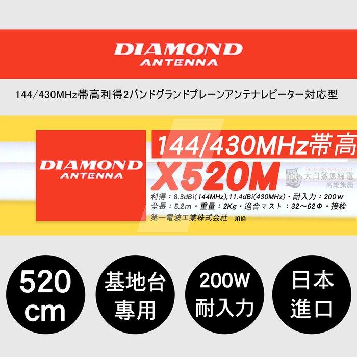 └南霸王┐日本原裝進口 DIAMOND X520M 基地台專用雙頻天線|長5.2M|木瓜天線|X510M X30 X50