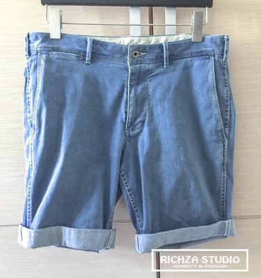 香港品牌ad-lib  Adlib L號 淺藍彈性水洗牛仔短褲