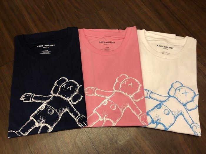 玉米潮流本舖 KAWS:HOLIDAY COMPANION 粉色 白色 深藍 三色 韓國限定 短TEE