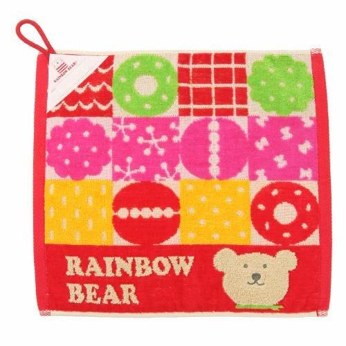 日本彩虹熊絨布 大方巾/擦手巾34x39(有掛繩)(甜甜圈)紅~Jennifer的異想世界~