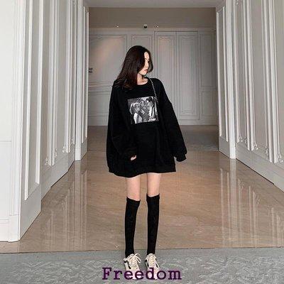 Freedom.~ins初春香港復古百搭BF寬松前后印花套頭圓領中長款上衣衛衣女潮